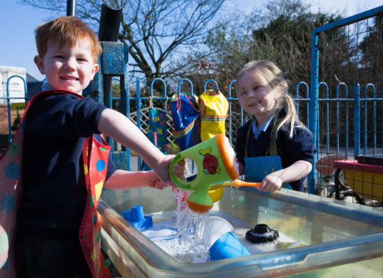 Children make the most of the recent good weather