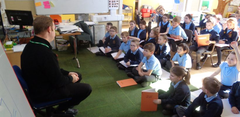 Father David helps in school – Easter 2018