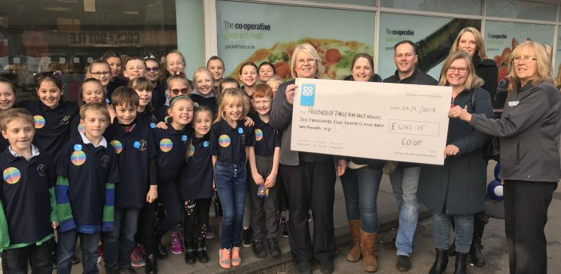 We receive a cheque from the Co op – 24th November 2018